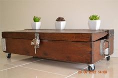 Antique Industrial Carpenters Tool Chest / Coffee Table Retro French Provincial   eBay