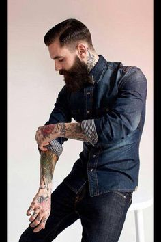 Ricki Hall in all denim - very dark full thick beard and mustache undercut hair beards bearded man men mens' style jeans tattoos tattooed by carolyn Sharp Dressed Man, Well Dressed, Estilo Hipster, Thick Beard, Cooler Look, Beard Tattoo, Hair And Beard Styles, Haircuts For Men, Male Hairstyles