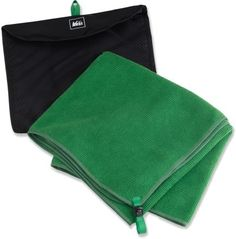 """This is our favorite camping towel. It's highly rated. REI MultiTowel Large Towel - 36"""" x 16.5"""" $19.50"""
