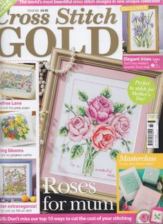 My roses design on the front cover of Cross Stitch Gold 64 Cross Stitch Tree, Cross Stitch Boards, Cross Stitch Designs, Cross Stitch Patterns, Cross Stitching, Cross Stitch Embroidery, Russian Cross Stitch, Magazine Cross, Cross Stitch Magazines