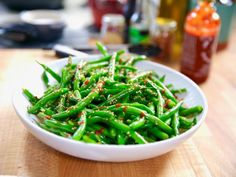 """Green Beans with Magic Sesame Sauce (Chinese Family Faves) - Molly Yeh, """"Girl Meets Farm"""" on the Food Network. Green Beans with Magic Sesame Sauce (Chinese Family Faves) - Molly Yeh, """"Girl Meets Farm"""" on the Food Network. Green Bean Recipes, Vegetable Recipes, Vegetarian Recipes, Cooking Recipes, Healthy Recipes, Lentil Recipes, Magic Sauce Recipe, Crunch Recipe, Veggies"""
