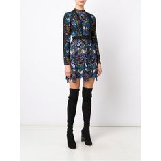 Black and blue 'Maxine' dress from Self-Portrait.Designer Style ID: SP11040 Black over the knee boots