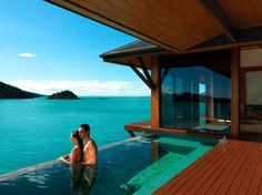 """Qualia, Hamilton Island, Great Barrier Reef. Pronounced kwa-lee-ah, which in Latin means """"a deeper sensory experience,"""" this property is on the northernmost tip of Hamilton Island. """"Relaxation kicks in upon arrival, with the first sip of champagne taken with a view of the other Whitsundays."""""""