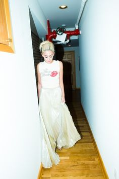 Erika Bearman | The Coveteur @OscarPRGirl in a Rolling Stones tee and Oscar de la Renta maxi skirt. #style