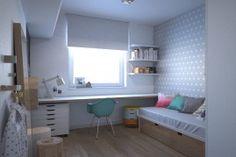 Blat na całej długości ściany z oknem nie zaburza proporcji pomieszczenia, a zapewnia dosyć miejsca do nauki, zabawy, może także służyć jako stolik w czasie wizyty koleżanek.