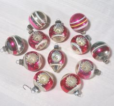 Vintage Shiny Brite Ornaments Striped Double Indents and Traditional Balls, set of 12