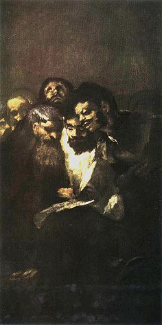 Reading. Goya. 1820-1821. Black paintings at Quinta del Sordo. Oil on plaster mounted on canvas. 126 x 66 cm. Museo del Prado. Madrid.