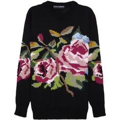 Dolce & Gabbana Rose-patterned wool sweater (4.170 BRL) ❤ liked on Polyvore featuring tops, sweaters, jumpers, shirts, wool shirt, woolen sweater, wool tops, wool sweaters and dolce gabbana top