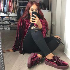 Puma Fenty X Rihanna Suede Creepers Wine Purple Puma Creepers Outfit, Rihanna Creepers, Puma Outfit, Swag Outfits, Dope Outfits, Casual Outfits, Fashion Outfits, Womens Fashion, Tumblr Outfits