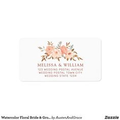Shop Watercolor Floral Bride & Groom Wedding Address Label created by AustenAndGrace. Mailing Address Labels, Wedding Address Labels, Custom Address Labels, Wedding Rsvp, Wedding Groom, Bride Groom, Floral Wedding, Blush Roses, How To Be Outgoing