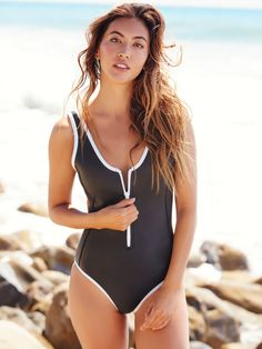 Sicily Scoop Neck One Piece | Retro-inspired neoprene-blend swimsuit featuring contrast trim and front zip closure. Low scoop back and sport-inspired silhouette.
