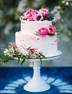 Our Favorite Wedding Cakes from 2016   Modern Cake with Bright Pink Floral Accents