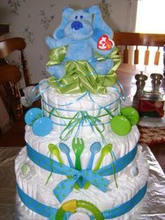 """""""For a Boy"""" Diaper Cake Baby Shower Decoration"""