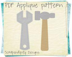 Tools Applique Template - Hammer Applique Pattern / PDF Kids Boys Clothing Tshirt / Tool Birthday Party / DIY Boys Toddler Shirt AP182