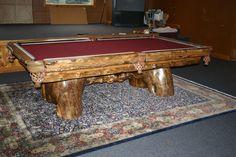 Custom burl 9' billiard table from Drawknife's Yellowstone Collection