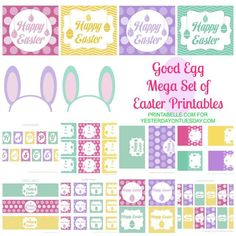 Free set of Easter Party printables including a banner, tags, mini candy bar wrappers and more