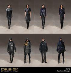 Deus Ex Mankind Divided - NPC Fashion Design , Bruno Gauthier Leblanc on ArtStation at https://www.artstation.com/artwork/mankind-divided-npc-fashion-design