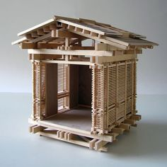 Two Architectural Models Illustrating the Bypass System of Wood Post-and-Beam Construction