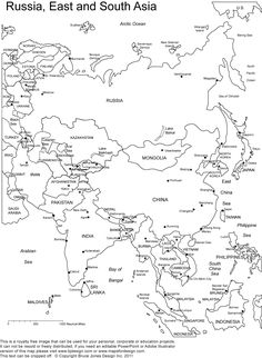 printable outline maps of Asia for kids | Asia Outline, Printable Map with Country Borders and Names, Outline ...