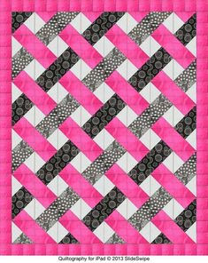 Easy woven quilt pattern -- triangles by Jenny Ann Morgan. - SR Close up shows the make up of individual blocks Easy woven quilt pattern -- triangles by Jenny Ann Morgan. - SR Close up shows the make up of individual blocks Jellyroll Quilts, Lap Quilts, Scrappy Quilts, Quilt Blocks, Quilting Projects, Quilting Designs, Quilting Ideas, Quilt Inspiration, Ribbon Quilt