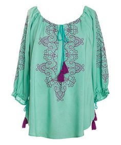 Nick & Mo Aqua Forget-Me-Not Peasant Top by Nick & Mo #zulily #zulilyfinds