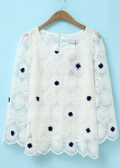 White Long Sleeve Embroidered Lace Chiffon Blouse US$23.28 - It would be cute casual or formal