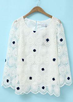 Blusa bordada gasa encaje mangas largas-Blanco