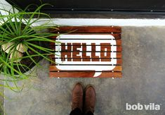 """Greet guests with a """"Hello!"""" right at the door. Just follow this easy DIY for a personalized wood doormat in time for seasonal entertaining."""