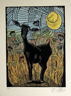 linocut print, Goat and Anis, Blue, yellow, sunshine and mountains, rustic decor