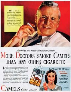 Cigarettes were once 'physician' tested, approved:  From the 1930s to the 1950s, 'doctors' once lit up the pages of cigarette advertisements.