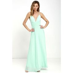 Depths of My Love Mint Maxi Dress ($78) ❤ liked on Polyvore featuring dresses, green, long white maxi skirt, white pleated maxi skirt, mint green dress, fitted maxi skirt and maxi skirt