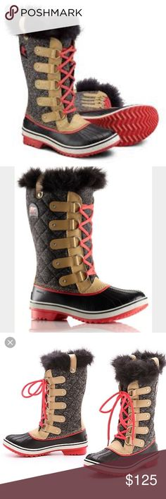 Sorel Tofino Herringbone Women's Boots Step out in style with the Sorel Tofino Herringbone Boots. The Herringbone amps up the textural interest while the faux fur cuff adds a bit of fun! Brand new, never worn. Smoke free home. No trades. Sorel Shoes Winter & Rain Boots