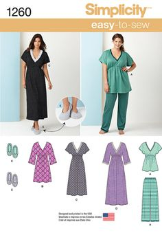 3e58a336b1 Misses  Easy to Sew misses  sleepwear works great for knits. Nightgown can  be floor or knee length with sleeves and mid calf length with short sleeves.