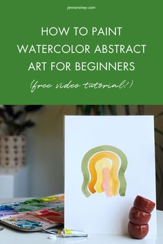 How to paint watercolor abstract art for beginners. In this tutorial, I show you step-by-step how to paint 2 simple modern pieces—an abstract sunset and a wavy rainbow. Pencil sign the bottom, stick 'em in a frame, and display your beautiful art in your home! Abstract Watercolor Art, Easy Watercolor, Watercolor Design, Watercolor Paintings, Happy Little Trees, Step By Step Watercolor, Rainbow Painting, Modern Art Paintings, Watercolor Techniques