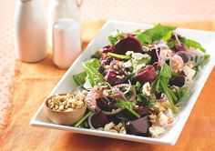 Caramelised beetroot, rocket and feta salad, nut recipe, brought to you by recipes Beetroot And Feta Salad, Beetroot Relish, Nut Recipes, Easy Salad Recipes, Cooking Recipes, Savoury Recipes, Quick Meals, No Cook Meals, Rocket Recipes