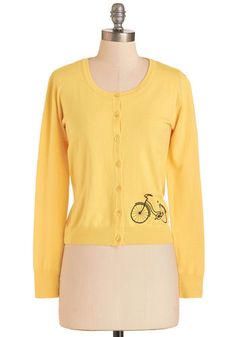 Bicycle Education Cardigan. As you pedal to class clad in this bicycle-embroidered cardigan, you feel as bright and sunny as its yellow hue. #yellow #modcloth