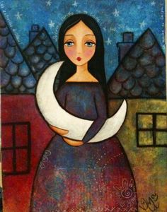 luna / by Ana Ferrer Sun Moon, Stars And Moon, Collages, Pop Art, Angel Crafts, Good Night Moon, Moon Child, Whimsical Art, Face Art