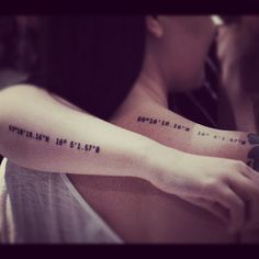 Matching sister tattoos. gps coordinates to our favourite place, our mothers kitchen :) #tattoo #ink