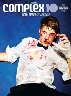 Justin Bieber beat to a pulp on the cover of Complex Magazine...
