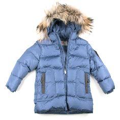 Il Gufo udsalg børnetøj Blå vinterjakke med hætte og ægte pels tilbud børnetøj