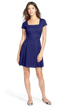 Soprano+Square+Neck+Pleated+Skater+Dress+available+at+#Nordstrom