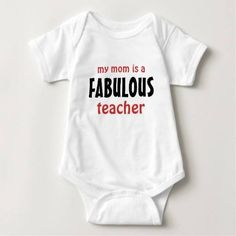 (My Mom is a Fabulous Teacher Baby Bodysuit) #Adorable #BestTeacher #Cute #Design #Education #Educator #Fabulous #FabulousTeacher #GreatTeacher #ILoveMyMom #Mom #MyMomsAFabulousTeacher #New #Newborn #RedAndBlack #RedAndBlackFabulousTeacher #RedAndBlackTeacher #School #Shower #Teacher #TeacherAppreciation #Text #TextDesign is available on Funny T-shirts Clothing Store…