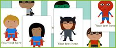 This file contains a set of 9 superhero pictures with editable text. Lot of great images here for use in creating resources.