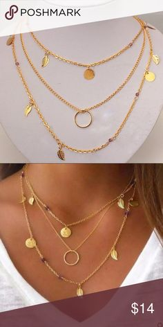 3 For $30 New Boho Necklace New gold tone with purple beads layered necklace 4 Bidden Boutique Jewelry Necklaces