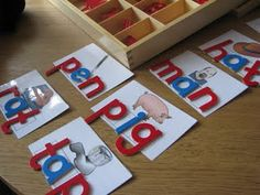 Love the Montessori Moveable Alphabet & printable cvc cards for letter tiles. Kindergarten Language Arts, Kindergarten Centers, Kindergarten Reading, Kindergarten Classroom, Teaching Reading, Literacy Centers, Literacy Stations, Teaching Ideas, Classroom Ideas