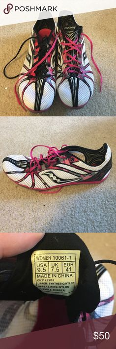 Saucony Distance Track and Feiffer Spikes Cute white, black and pink Saucony distance spikes! Great condition! Spikes feel like never been used! No trades! Saucony Shoes Sneakers