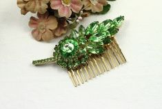 Vintage Green Rhinestone Leaf Jeweled Hair Comb by myboutiquebijou