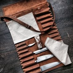 Handcrafted Knife Made a chef knife roll. Thanks for making it look good with your photo skills Leather Roll, Leather Tooling, Chef Knife Bags, Case Knives, Knife Sheath, Le Chef, Leather Projects, Leather Crafts, Small Leather Goods