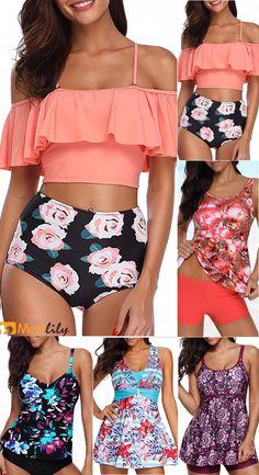 Print trendy bra & bikini sets, fashion bra & bikini sets with competitive price High Low Lace Dress, Flounce Bikini, Girls Bathing Suits, Bikini Outfits, Summer Work Outfits, Cute Swimsuits, Plus Size Swimwear, Bra Styles, Mode Style