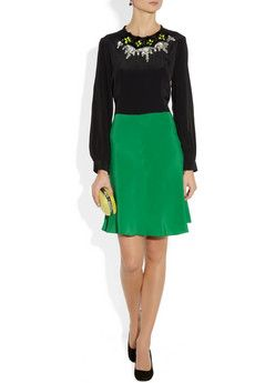 Marni   Color-block embellished crepe de chine dress   NET-A-PORTER.COM